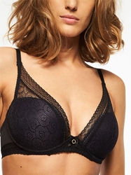 Chantelle Festivité Lace Underwire Plunge Bra in Black