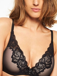 Chantelle Orangerie Lace Plunge Underwire Bra in Black