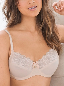 Chantelle Orangerie Lace Plunge Underwire Bra in Skin Rose