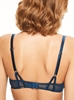 Chantelle Segur Lace Push-Up Underwire Bra in Deep Blue, Back View